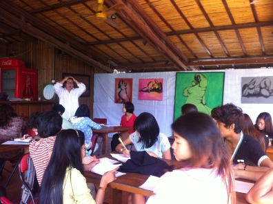 Poet Nyein Way doing a workshop on conceptual poetry and women